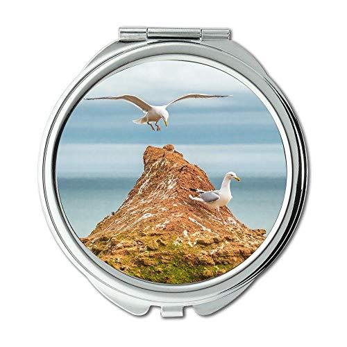 Yanteng Spiegel, Schminkspiegel, Tierstrandvogel, Taschenspiegel, tragbarer Spiegel