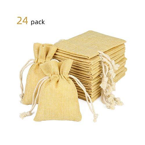 EKKONG Jutesäckchen Klein Geschenk Säckchen mit Tunnelzug klein Verpackung für Kindergeburtstag Hochzeit Party DIY Handwerk Mitbringsel 10cm*14cm (braun)