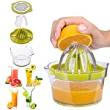 Manual Juicer, Multifunction Citrus Lemon Orange Juicer Hand Press with Egg Yolk Separator, Manual Hand Squeezer with Built-in Measuring Cup and Grater, 12OZ(Green)