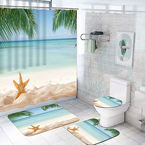 AmaUncle 4 Pcs Bathroom Shower Curtain Sets with Rugs Tropical Beach with Sea Star in Sand Copyspace Non-Slip Mat Toilet Lid Cover Waterproof with 12 Hooks for Bathroom Decor