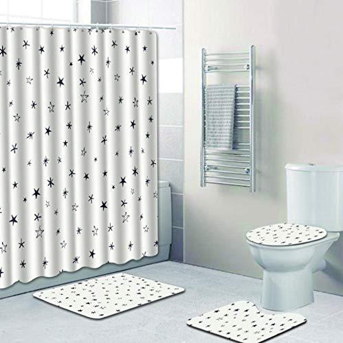 ZHANGZH Juegos de alfombras de baño con impresión HD, Alfombra de baño, Cortina de Ducha, poliéster Resistente al Agua, decoración de Estilo Minimalista Moderno, Juego de 4 Piezas, Color Blanco