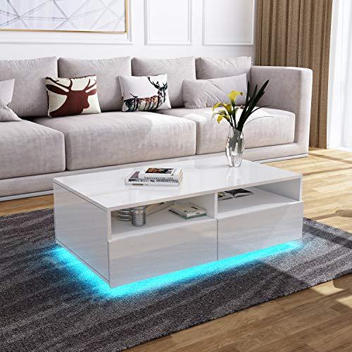 UNDRANDED Moderner Hochglanz Couchtisch 4 Schubladen mit Offener Fall Sofatisch für Wohnzimmermöbel 85 x 55 x 35 cm (Weiß mit LED Streifen)