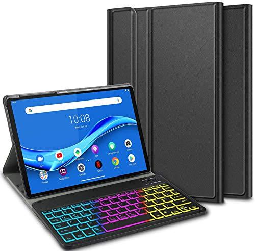 ELTD Tastatur Hülle für Lenovo Tab M10 Plus,Deutsches QWERTZ 7 Farben LED-Hintergrundbeleuchtung Kabellose Tastatur für Lenovo Tab M10 FHD Plus (2nd Gen) TB-X606F 10.3 Zoll (Coal)
