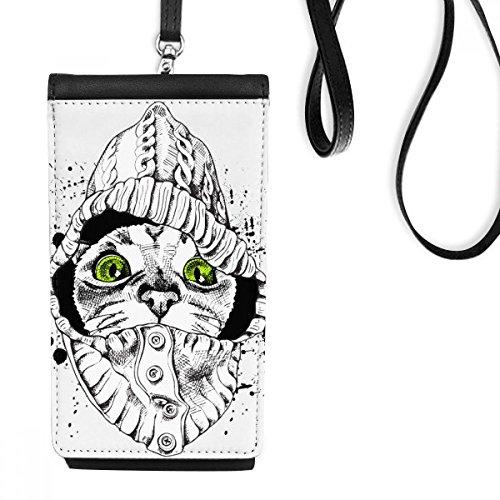 DIYthinker trui witte kat hoofd beschermen dier huisdier liefhebber kunstleer smartphone opknoping portemonnee zwart telefoon portemonnee cadeau