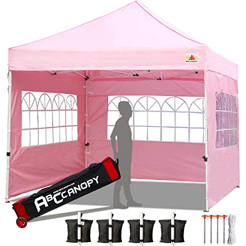 ABCCANOPY Tents Canopy Tent 10 x 10 Pop Up Canopies Commercial Tents Market stall with 3 Removable Sidewalls and 1 Door Wall Bonus 4 Weight Bags, 4 Stakes and Upgrade Roller Bag, Pink