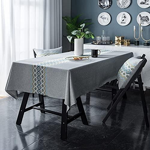 Mantel de Lino para Mesa de Comedor, Mantel para el hogar, Mantel para Exteriores, decoración, Mantel para Fiestas, Bordado, 140x240cm A