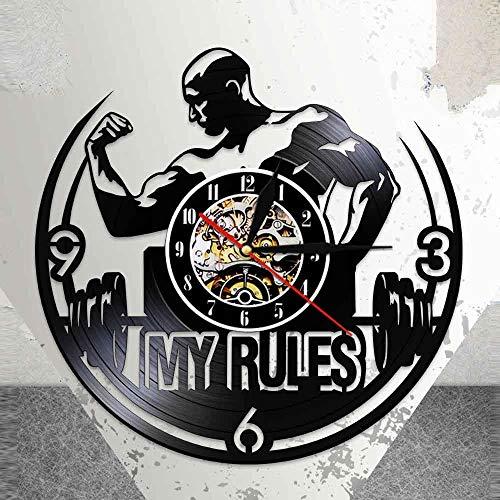 Rgzqrq Mis Reglas Citas Inspiradoras Reloj de Pared Gimnasio Reloj de Pared Creativo Músculos Hombres Disco de Vinilo Reloj de Pared Fitness Center Decoración 30x30cm