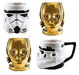 Star Wars 3D Sculpted Mug 4 Piece Set - C3PO and Storm Trooper