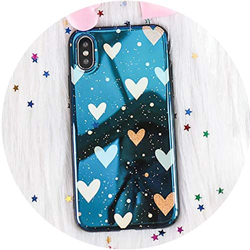 Cartoon Blu-Ray Mirror Phone Case for iPhone X Case for iPhone 6S 6 7 8 Plus Cases Retro Fashion Love Heart Star Cover Capa,Style 1,for iPhone X