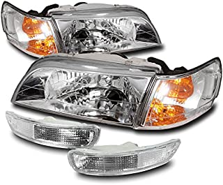 ZMAUTOPARTS Replacement Headlights Headlamps with Bumper + Corner Signal Lamps Chrome For 1993-1997 Toyota Corolla