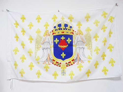 AZ FLAG Drapeau Royaume de France Anges Sacré Cœur 90x60cm - Drapeau royaliste pavillon du Roi Ancien Régime Jésus 60 x 90 cm Fourreau pour hampe