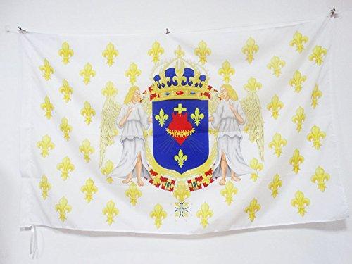 AZ FLAG Flagge KÖNIGREICH Frankreich Engel HEILIGSTES Herz JESU 90x60cm - KÖNIGREICH DER Franzosen Fahne 60 x 90 cm Scheide für Mast - flaggen Top Qualität