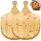 ZOENHOU 2 PCS 17 x 12 Inch Bamboo Pizza Peel, Pizza Board with Handle, Bamboo Cutting Board for Homemade Pizza Cheese Fruits Cake