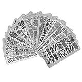Popuppe 15 pcs Nail art plaques stamping pour art d'ongles Vernis à ongles plaques d'impression Nail plaque de stamping Fleur Ligne Coeur Géométrie Charmant Mode Joli Dentelle