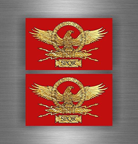 Akachafactory 2x selbstklebend Sticker Auto Moto Flagge Empire Romanum Rom Schürze