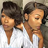 BLISSHAIR Short Bob Pixie Cut Wig, Brazilian Lace Front Curly Human Hair Wigs for Black Women 13x4 T Lace Frontal Wigs with Baby Hair