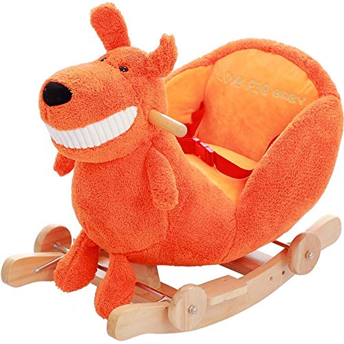 LALAWO Children's leisure chair Children's Wooden Horse Solid Rocking Horse Rocking Chair Early Education Dual-use Baby Baby Rocking Cradles Music Educational Toys 60 * 28 * 44cm