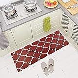 Carvapet Comfort Anti-Fatigue Kitchen Standing Desk Mat Waterproof Decorative Ergonomic Floor Pad Kitchen Rug, Moroccan Trellis Red 18