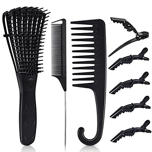 8PCS Ez Detangler Brush Set,MORGLES Ez Detangler Brush Wide Tooth Comb for Curly Hair with Rat Tail Comb 5PCS Alligator Hair Clips Detangling Brush for Curly Natural Hair(Black)