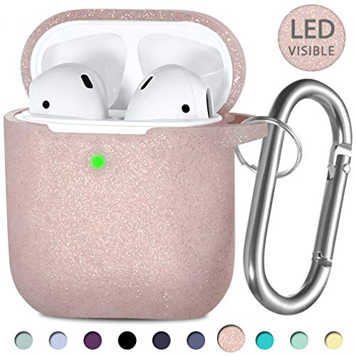 Hamile Compatible with AirPods Case [Front LED Visible] Soft Silicone Protective Cases Cover Skin Designed for Apple AirPod 2 & 1, Women Men, with Keychain - Glitter Rose Pink