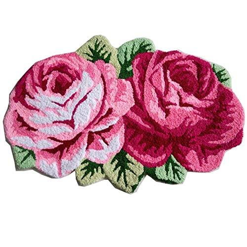 Abreeze 2 Rose Carpet Floor Mat Color Printing Rug Flower Rug Kitchen Area Rugs Modern Living Room Rugs, Pink