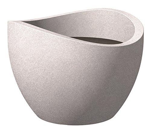 Preisvergleich Produktbild Scheurich Wave Globe,  Pflanzgefäß aus Kunststoff,  Taupe-Granit,  40 cm Durchmesser,  22, 2 cm hoch,  8 l Vol.