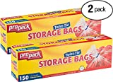 ProPack Disposable Plastic Storage Bags with Original Twist Tie, 1 Gallon Size, 300 Bags, Great for Home, Office, Vacation, Traveling, Sandwich, Fruits, Nuts, Cake, Cookies, Or Any Snacks (2 Packs)