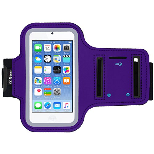 i2 Gear Running Exercise Armband for iPod Touch 7th, 6th and 5th Generation Devices with Adjustable Sport Band, Reflective Border, Touch Screen Protection and Key Holder (Purple)