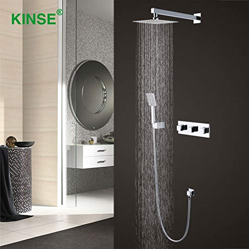 KINSE Brass Material Chrome Bathroom Shower Faucet Mixer Hot and Cold Big Rainfall Square Shower Set