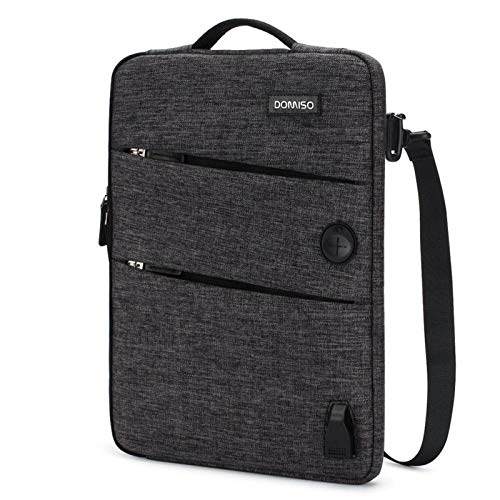 11 13 14 15.6 17.3 Inch Waterproof Laptop Bag Polyester with USB Charging Port Headphone Hole for Lenovo Acer HUAWEI HP (Color : Black, Size : 15.6 inch)