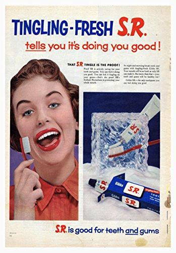 Blauwe Banaan Sr Tandpasta Poster Tingling-Fresh Goed voor tanden en tandvlees Foto Vintage Oude Advert Artwork Classic Ouderwetse Commerciële