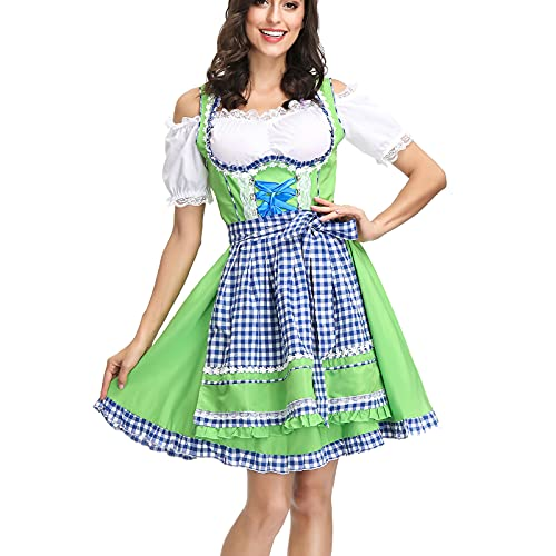 uzwwjim Dirndl Damen Midi Set 3 teilig mit Bluse und Schürze I Trachtenkleid Damen Dirndlkleid Trachtenkleid Kombination (Grün,XL)