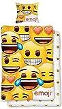 BERONAGE Original Emoji Wende Bettwäsche Smiley 135 cm x 200 cm + 80 cm x 80 cm - Neu & Ovp - 100% Baumwolle - Wendebettwäsche
