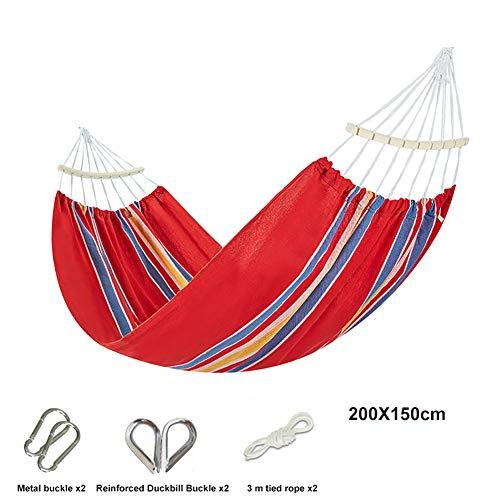 Hammock Hangmat voor op de camping, eenpersoonsbed buiten, gekamd katoen, geschikt voor camping, toerisme, schommels, 2 x karabijnhaak, 2 x nylon touw