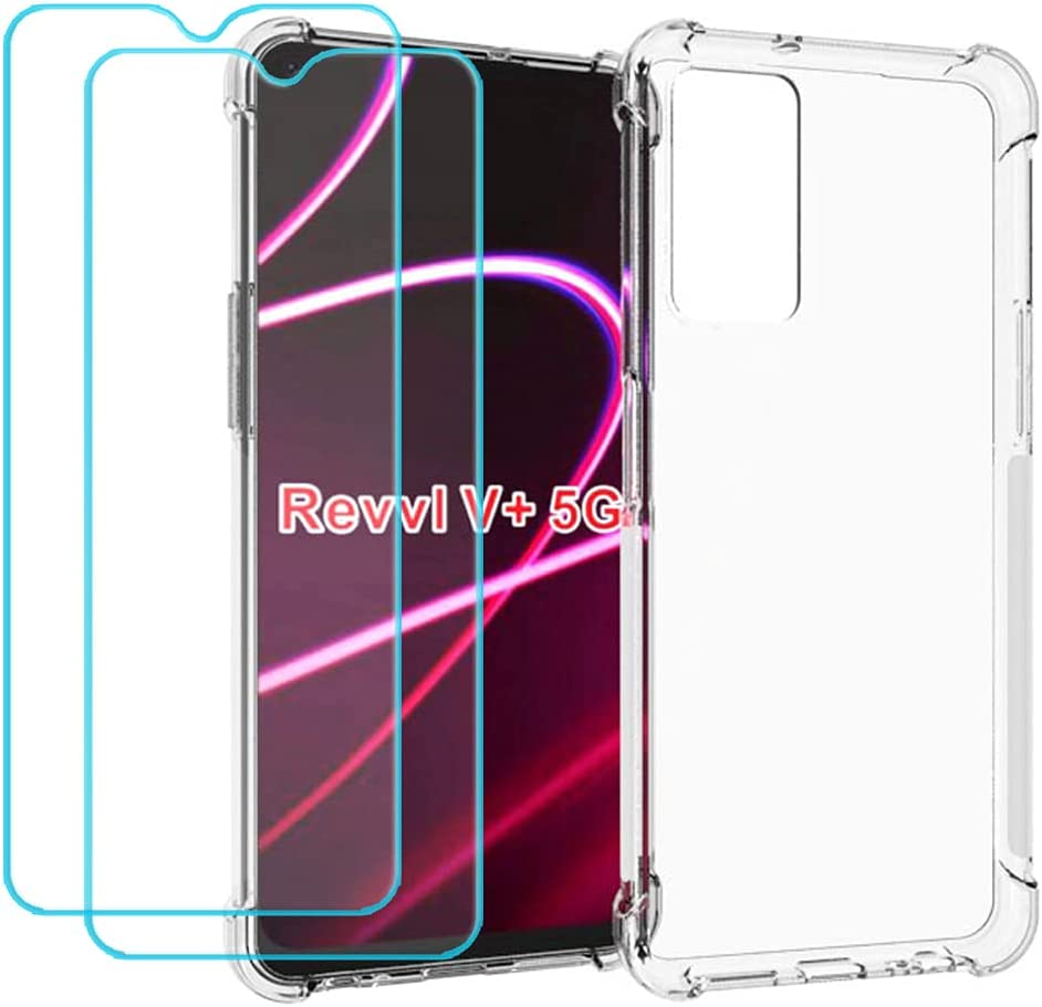 Ytaland for T-Mobile Revvl V+ 5G Case, with 2 x Tempered Glass Screen Protector. Crystal Clear Silicone Shockproof TPU Bumper Protective Phone Case Cover