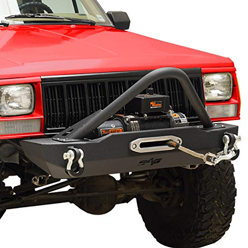KML Stubby Front Bumper with Stinger & Winch Plate Fit for 1984-2001 Cherokee XJ