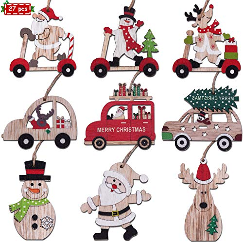 Fayoo Wooden Christmas Tree Ornaments Finished Set Holiday Wood Tags Painted Wooden Hanging Crafts and Pendants Kit Xmas Gift Tags 27 Pcs