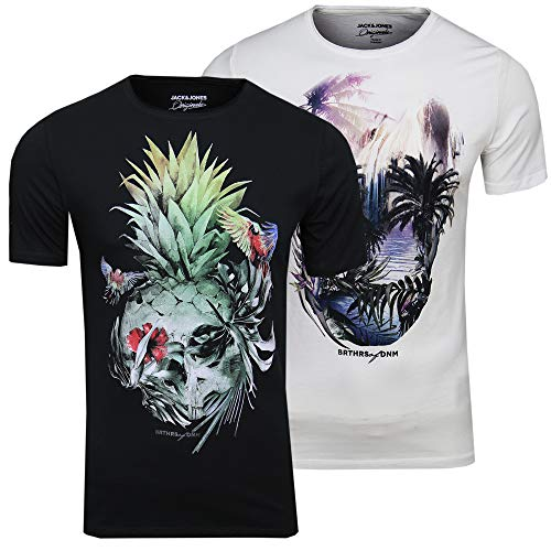 Jack & Jones Festival Support - Camiseta para hombre (cuello redondo, con calavera, 2 unidades) Negro (Tap Shoe/Cloud Dancer Fit: Slim). L