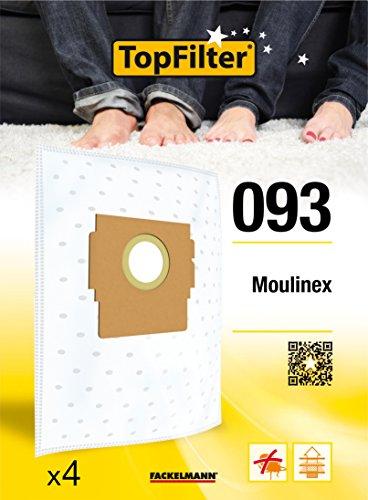 TopFilter 93, 4 sacs aspirateur pour Moulinex boîte de sacs d'aspiration en non-tissé, 4 sacs à poussière (30 x 26 x 0,1 cm)