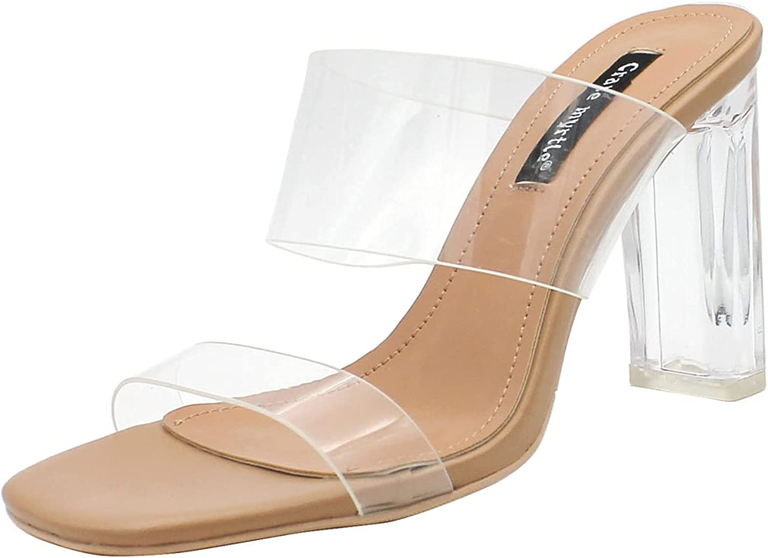 Woman Clear Ankle Strap High Block Heels Sandal with Open Square Toe Summer Daily Slip-on Ladies Slides Apricot