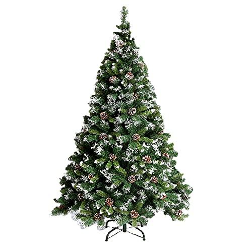 VA-Cerulean Weihnachtsbaum Künstlicher,schwer entflammbar,Schnellaufbau,Weihnachtsdeko,Unechter Tannenbaum,Christbaum mit Ständer(Grün PVC mit Schnee-Effekt,240cm)