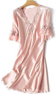Women Sexy Satin Sleepwear Nightgown Half Sleeve Embroidery Nightdress Sexy Lingerie Plus Size Female Nightie