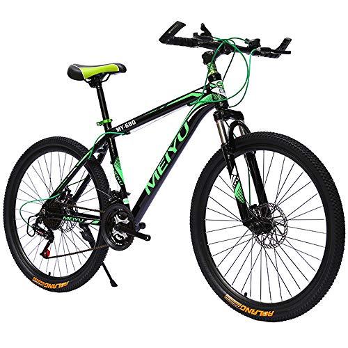 Bicicletas Montaña 26 Pulgadas, Mountain Bike, Bicicleta De Montaña Rígida De 21/24/27/30 Velocidades, Cuadro De Aluminio, Velocidad De Choque Bicicleta De Montaña, Rueda De 25 Radios, Verde,21 speed