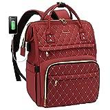 Laptop Rucksack Damen elegant mit Laptopfach 15,6 Zoll, Rucksack Tasche Damen wasserdicht, Rucksack mädchen Teenager klein mit USB Ladeanschluss, Weinrot