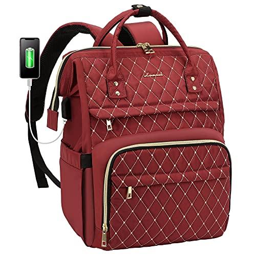LOVEVOOK Laptop Rucksack Damen elegant mit Laptopfach 15,6 Zoll, Rucksack Tasche Damen wasserdicht, Rucksack mädchen Teenager klein mit USB Ladeanschluss, Weinrot