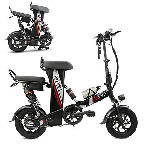 AA100 Bicicleta eléctrica Plegable, Conveniente Doble tracción en Dos Ruedas Scooter al Aire Libre 48V20A / 25A batería de Iones de Litio, Freno de Disco Doble (Negro Rojo 2 Colores),Black,20A
