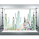 Cactus Floral Backdrop Watercolor Desert Plants Photography Background 7x5ft Fiesta Baby Shower Banner VVYF034
