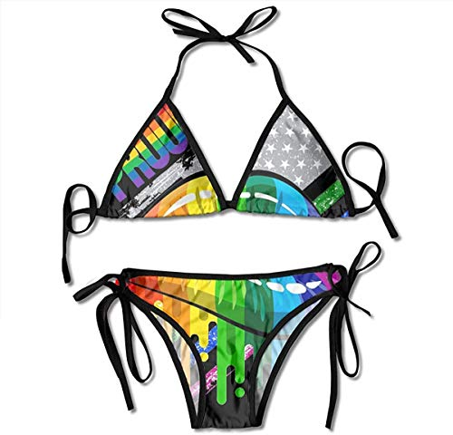 heefan Badeanzug Lesben Regenbogen Lippen Pride Womens Wrap Top Bottom Badeanzug Bikini Bademode Zweiteiliger Badeanzug