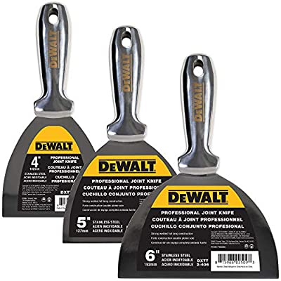 DEWALT All Stainless Steel Joint Knife 3-Pack | One-Piece Premium Polished Metal Putty Blade | 3-450