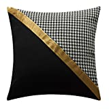 YMSDZHL Throw Pillow Cases Covers for Bed Couch Sofa Modern Minimalist Black and White Gold Leather Stitching Pillow Case Cushion Cover18 X 18 Inches(2#)